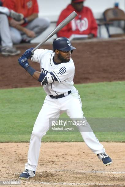 Manuel Margot of the San Diego Padres prepares for a pitch during a baseball game against the Washington Nationals at Petco Park on August 19 2017 in...