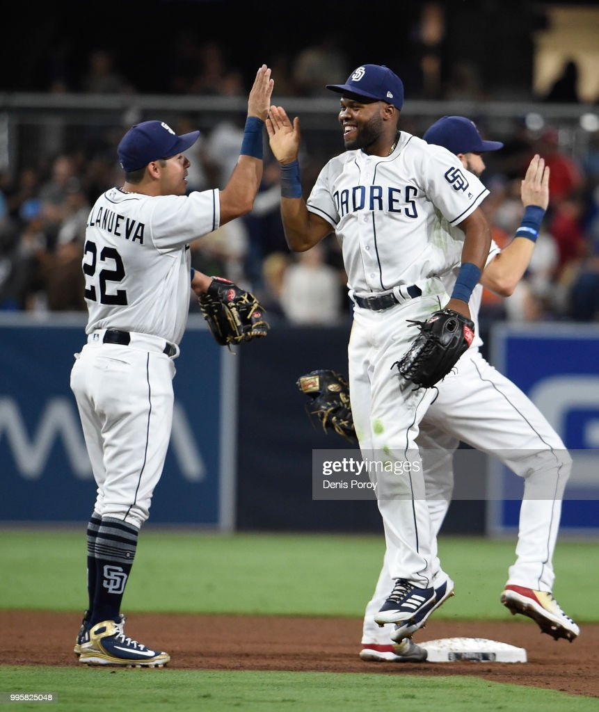 Manuel Margot #7 of the San Diego Padres, right, and Christian Villanueva #22 celebrate after beating the Los Angeles Dodgers 4-1 in a baseball game at PETCO Park on July 10, 2018 in San Diego, California.