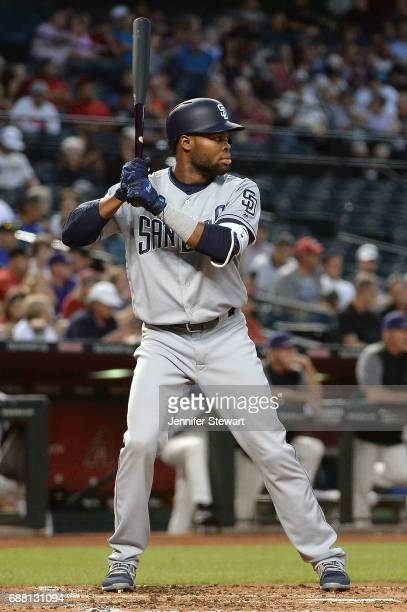 Manuel Margot of the San Diego Padres stands at bat against the Arizona Diamondbacks in the third inning at Chase Field on April 27 2017 in Phoenix...