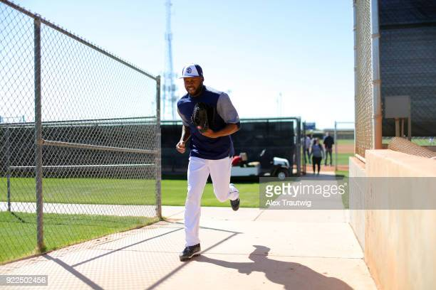 Manuel Margot of the San Diego Padres walks to the field during workouts on Tuesday February 20 2018 at the Peoria Sports Complex in Peoria Arizona