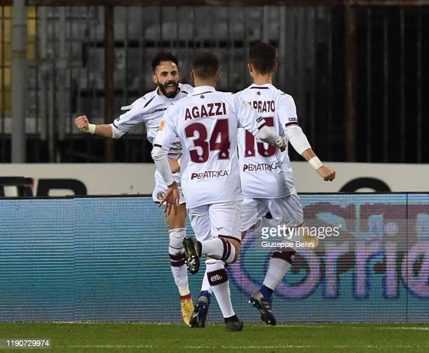 Manuel Marras of AS Livorno celebrates after scoring the opening goal during the Serie B match between Empoli FC and AS Livorno at Stadio Carlo...
