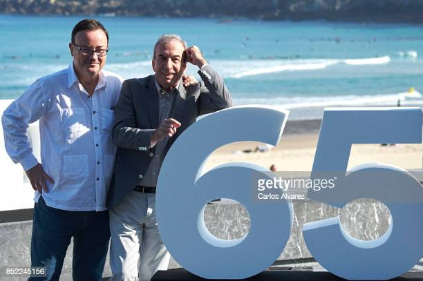 Manuel Martin Cuenca and Jose Luis Perales attend 'El Autor' photocall during 65th San Sebastian Film Festival on September 23 2017 in San Sebastian...