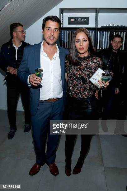 Manuel Martinez and Catherine Cerezo attend the Blu Perfer Blue Brut Launch Party for The 2018 8th annual Better World Awards on November 15 2017 in...