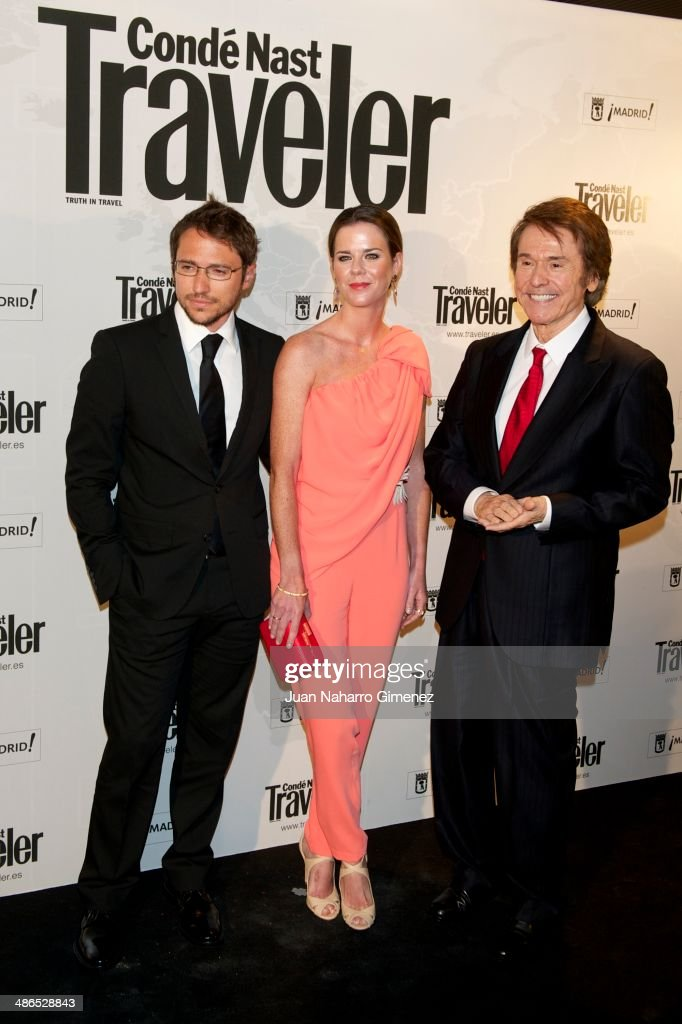 Manuel Martos, Amelia Bono and Spanish singer Raphael attend the Conde Nast Traveler Awards 2014 at the Jardines de Cecilio Rodriguez on April 24, 2014 in Madrid, Spain.