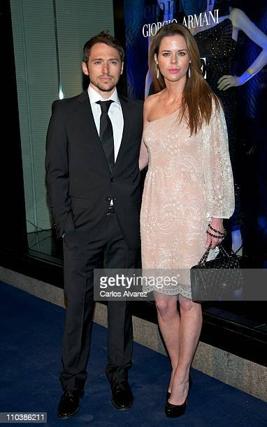 Manuel Martos and wife Amelia Bono attend Giorgio Armani and Vogue party on March 17 2011 in Madrid Spain
