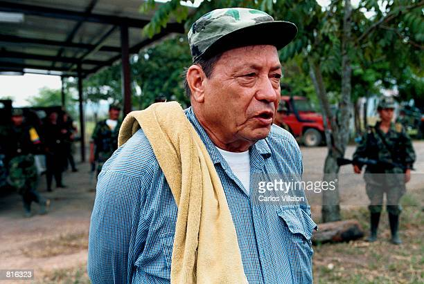 Manuel Marulanda known as 'Tiro Fijo' the man that started the FARC nearly fourty years ago speaks to the media February 28 2001 in Los Pozos...