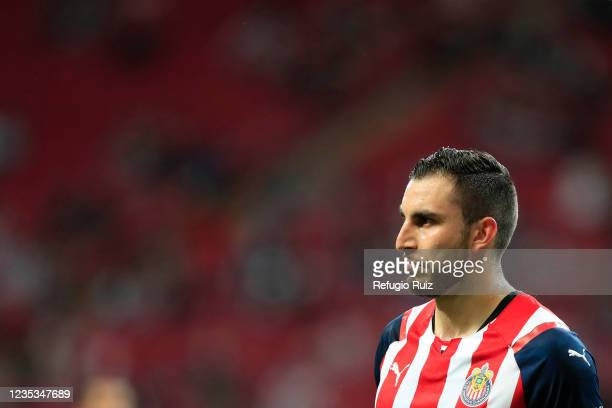 Manuel Mayorga of Chivas looks on during the 9th round match between Chivas and Pachuca as part of the Torneo Grita Mexico A21 Liga MX at Akron...