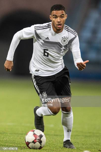 Manuel Mbomd of Germany controls the ball during the Germany U19 against Portugal U19 match of UEFA Four Nations Tournament on November 14 2018 in...
