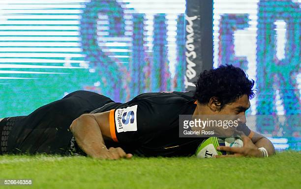 Manuel Montero of Jaguares scores a try during a match between Jaguares and Kings as part of Super Rugby 2016 6 at Jose Amalfitani Stadium on April...