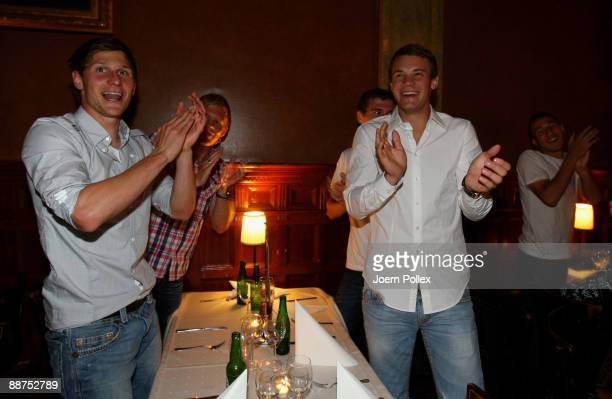 Manuel Neuer and Benedikt Hoewedes are celebrating after winning the U21 European Championship on the DFB U21 European Championship Party in the...