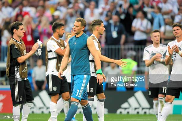 Manuel Neuer and German players show dejection after their 01 defeat in the 2018 FIFA World Cup Russia Group F match between Germany and Mexico at...