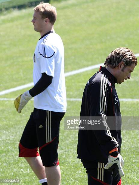 Manuel Neuer and Tim Wiese of Germany are seen in action during training session at Sportzone Rungg on May 22, 2010 in Appiano sulla Strada del Vino,...