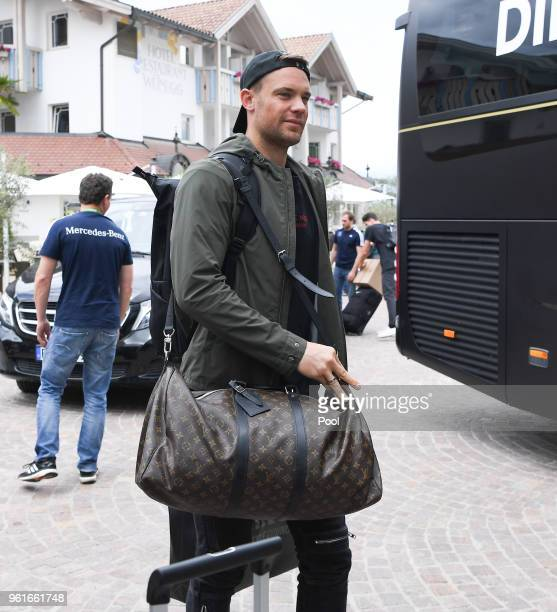 Manuel Neuer arrives on day one of the Germany National Football team's training camp at Hotel Weinegg on May 23 2018 in Eppan Italy