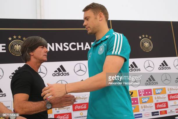Manuel Neuer arrives with Joachim Loew, head coach of the German national team for a press conference with of the German national team at Sportanlage...