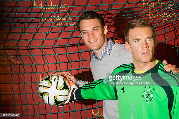 Manuel Neuer attends the exhibition of his wax figure at Madame Tussauds on January 26 2015 in Berlin Germany