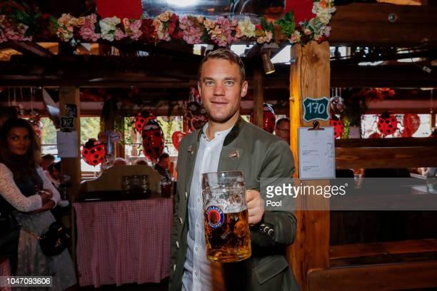 Manuel Neuer attends the Oktoberfest beer festival at Kaefer Wiesenschaenke tent at Theresienwiese on October 7, 2018 in Munich, Germany.
