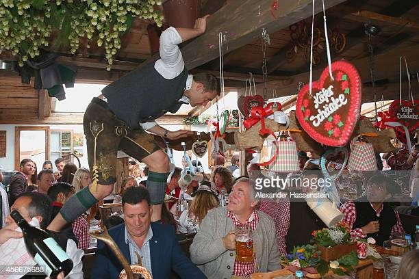 Manuel Neuer attends the Oktoberfest beer festival at Kaefer Wiesnschaenke tent at Theresienwiese on October 5 2014 in Munich Germany