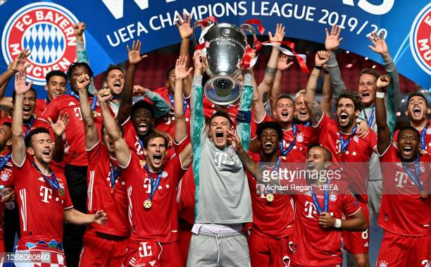 Manuel Neuer captain of FC Bayern Munich lifts the UEFA Champions League Trophy following his team's victory in the UEFA Champions League Final match...