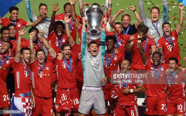 Manuel Neuer, captain of FC Bayern Munich lifts the UEFA Champions League Trophy following his team's victory in the UEFA Champions League Final...