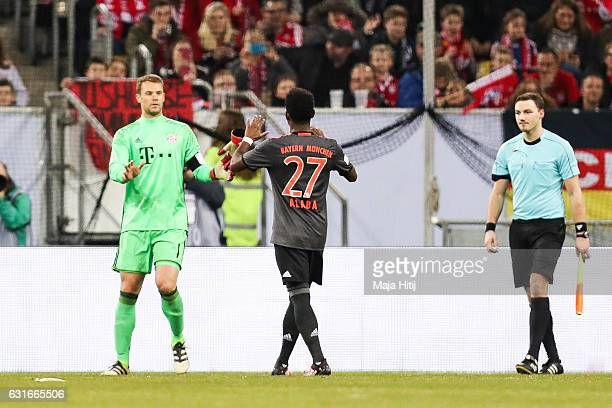 Manuel Neuer goalkeeper of Bayern and David Alaba of Bayern celebrate after the Telekom Cup 2017 match between Fortuna Duesseldorf and Bayern...