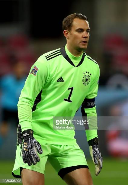 Manuel Neuer, goalkeeper of Germany gestures during the UEFA Nations League group stage match between Germany and Switzerland at RheinEnergieStadion...