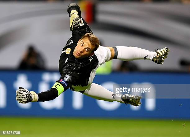 Manuel Neuer goalkeeper of Germany in action during the FIFA 2018 World Cup Qualifier between Germany and Czech Republic at Volksparkstadion on...