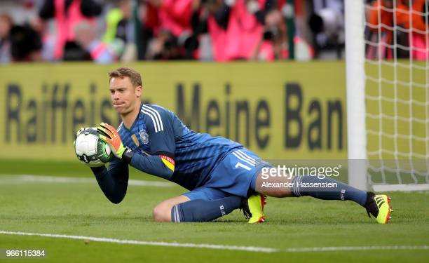 Manuel Neuer goalkeeper of Germany makes a save during the International Friendly match between Austria and Germany at Woerthersee Stadion on June 2...
