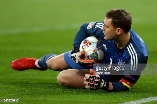Manuel Neuer goalkeeper of Germany makes a save during the UEFA Nations League A group one match between Germany and Netherlands at VeltinsArena on...