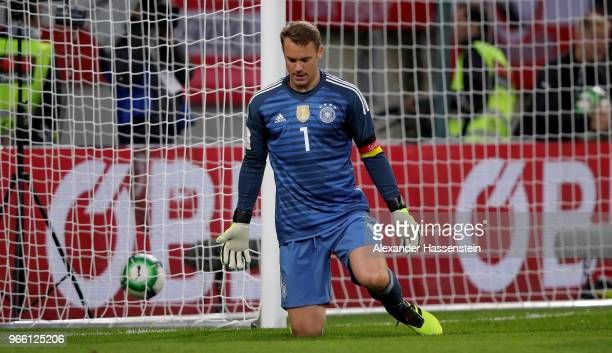 Manuel Neuer goalkeeper of Germany reacts during the International Friendly match between Austria and Germany at Woerthersee Stadion on June 2 2018...