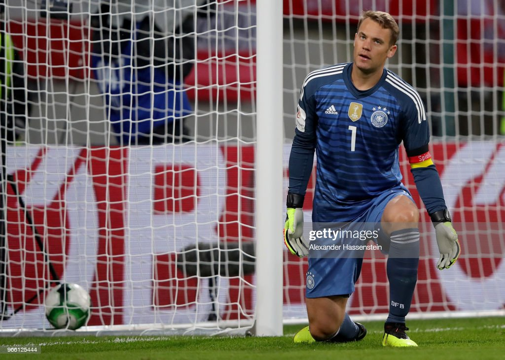 Manuel Neuer, goalkeeper of Germany reacts during the International Friendly match between Austria and Germany at Woerthersee Stadion on June 2, 2018 in Klagenfurt, Austria.