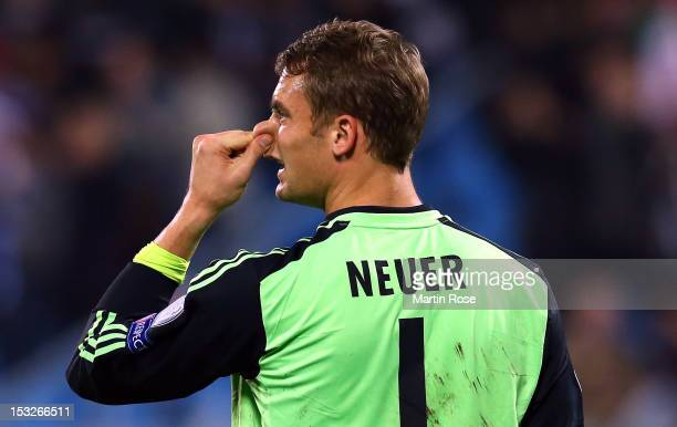 Manuel Neuer, goalkeeper of Muenchen reacts after UEFA Champions League group F match between FC Bayern Muenchen and FC BATE Borisov at Dinamo...