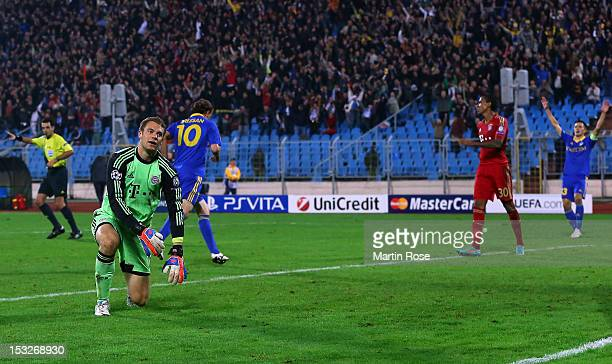 Manuel Neuer goalkeeper of Muenchen reacts during the UEFA Champions League group F match between FC Bayern Muenchen and FC BATE Borisov at Dinamo...