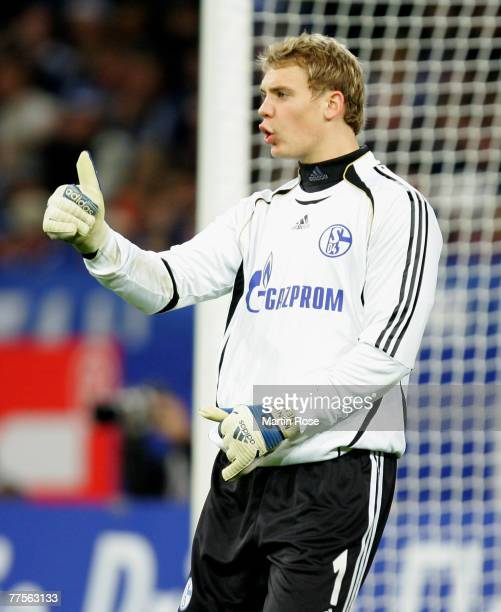 Manuel Neuer goalkeeper of Schalke gestures during the DFB Cup second round match between Schalke 04 and Hanover 96 at the Veltins Arena on October...