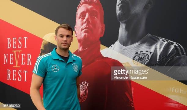 Manuel Neuer goalkeeper of the German national team talks to the media during a press conference at Sportanlage Rungg on June 4 2018 in Eppan Italy