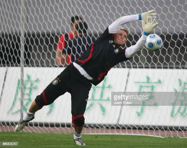Manuel Neuer ispractices during the Germany training session at the Shanghai Stadium on May 27 2009 in Shanghai China