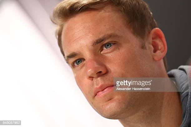 Manuel Neuer keeper of Germany looks on during a Germany press conference at Ermitage Evian on July 05 2016 in EvianlesBains France