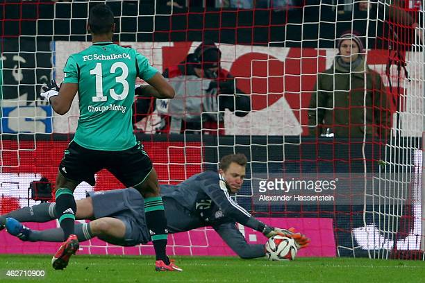 Manuel Neuer keeper of Muenchen safes a penalty by Eric Maxim ChoupoMoting of Schalke during the Bundesliga match between FC Bayern Muenchen and FC...