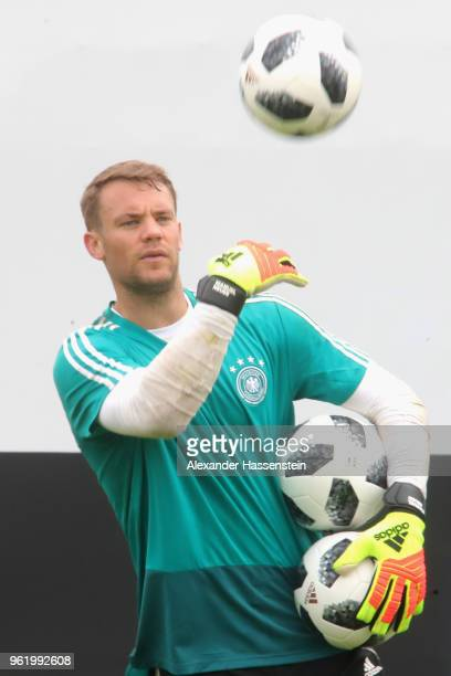 Manuel Neuer looks on during a training session of the German national team at Sportanlage Rungg on day two of the Southern Tyrol Training Camp on...