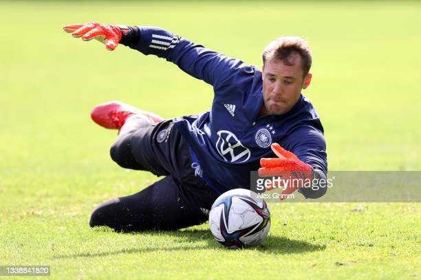 Manuel Neuer makes a save during a Germany training session at ADM-Sportpark on September 07, 2021 in Stuttgart, Germany.