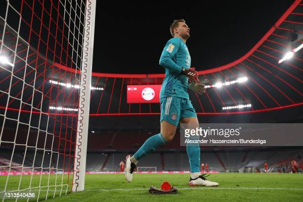 Manuel Neuer of Bayern München looks on during the Bundesliga match between FC Bayern München and Bayer 04 Leverkusen at Allianz Arena on April 20,...