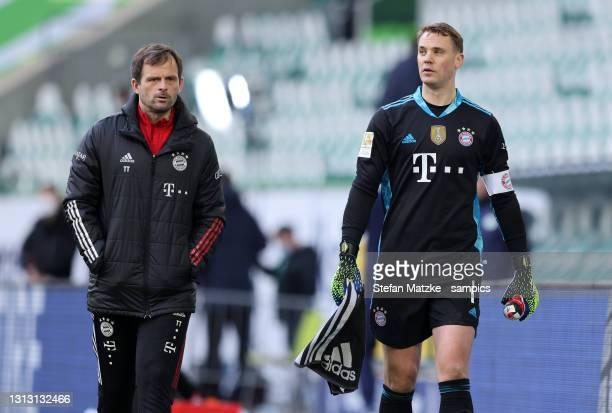 Manuel Neuer of Bayern Muenchen and Toni TAPALOVIC FC Bayern München after the Bundesliga match between VfL Wolfsburg and FC Bayern Muenchen at...