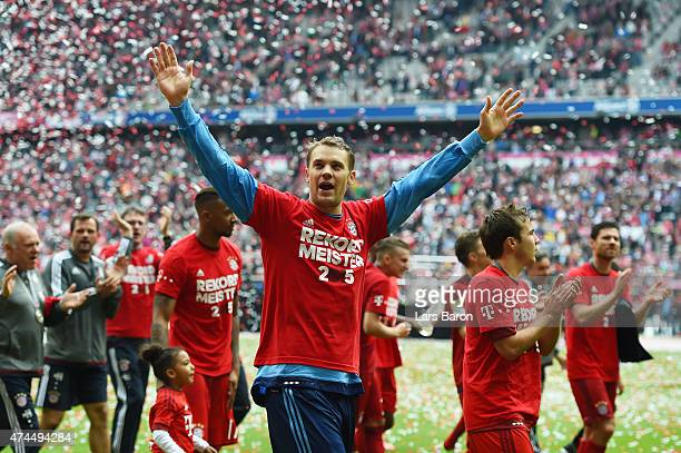Manuel Neuer of Bayern Muenchen celebrates after winning the league during the Bundesliga match between FC Bayern Muenchen and 1 FSV Mainz 05 at the...