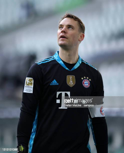 Manuel Neuer of Bayern Muenchen during the Bundesliga match between VfL Wolfsburg and FC Bayern Muenchen at Volkswagen Arena on April 17, 2021 in...