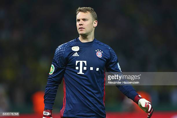 Manuel Neuer of Bayern Muenchen looks on during the DFB Cup Final 2016 between Bayern Muenchen and Borussia Dortmund at Olympiastadion on May 21 2016...