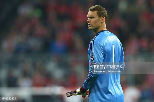 Manuel Neuer of Bayern Muenchen looks on during the UEFA Champions League quarter final first leg match between FC Bayern Muenchen and SL Benfica at...