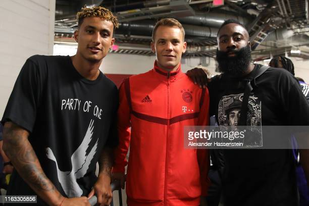 Manuel Neuer of Bayern Muenchen poses with James Harden and Kyle Kuzma after the International Champions Cup match between Bayern Muenchen and Real...