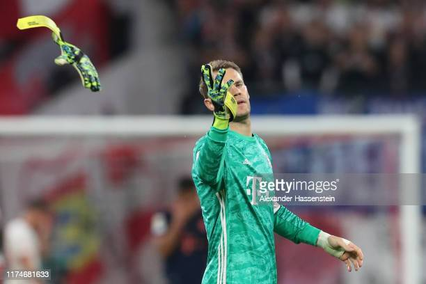 Manuel Neuer of Bayern Muenchen reacts after the Bundesliga match between RB Leipzig and FC Bayern Muenchen at Red Bull Arena on September 14, 2019...