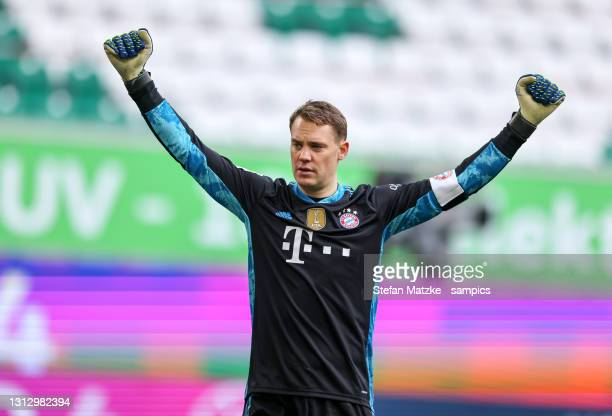 Manuel Neuer of Bayern Muenchen reacts during the Bundesliga match between VfL Wolfsburg and FC Bayern Muenchen at Volkswagen Arena on April 17, 2021...