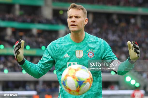 Manuel Neuer of Bayern Munich reacts during the DFB Cup final between RB Leipzig and Bayern Muenchen at Olympiastadion on May 25 2019 in Berlin...