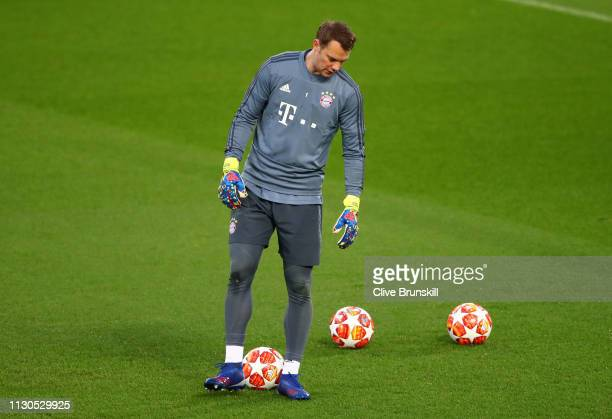Manuel Neuer of Bayern Munich trains during the FC Bayern Muenchen Training Session ahead of the UEFA Champions League Round of 16 First Leg match...